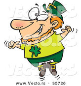 Vector of a Happy St. Patrick's Day Cartoon Leprechaun Joyfully Jumping up and down by Toonaday