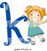 Vector of a Happy Strawberry Blond White Girl with a Blue Letter K by BNP Design Studio