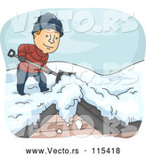 Vector of a Happy Young Man Shoveling Snow off Roof in Cold Winter Weather by BNP Design Studio