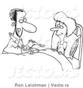 Vector of a Helpful Cartoon Husband Giving Sick Wife Medicine - Line Drawing by Toonaday