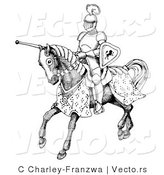 Vector of a Historic Black and White Knight Jousting on Horse by C Charley-Franzwa