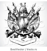 Vector of a Historic Black and White Knight's Armor Above Blank Banner by BestVector
