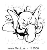 Vector of a Hostile Elephant Mascot Ferociously Breaking Through a Wall - Black Lineart by AtStockIllustration
