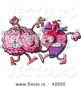 Vector of a Human Heart Character Fighting with a Brain by Zooco
