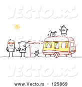 Vector of a Human Stick Family Camping with a Camper by NL Shop