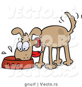 Vector of a Hungry Brown Dog Eating from Bowl While Wagging His Tail by Gnurf
