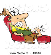 Vector of a Injured Cartoon Sitting in a Chair with a Swollen Bump on His Foot Radiating Pain by Toonaday