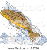 Vector of a Jumping Trout Fish over Water by Patrimonio