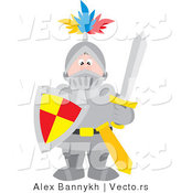 Vector of a Knight in Full Armor with Sword and Shield by Alex Bannykh
