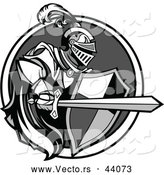 Vector of a Knight with a Cape Shield and Sword Within a Circle Icon - Grayscale Version by Chromaco