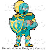 Vector of a Knight with Football and Shield by Dennis Holmes Designs