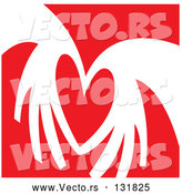 Vector of a Love Heart over a Red Background Clipart Illustration by Andy Nortnik