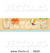 Vector of a Male and Female Legs and Feet in Sandals on a Beach with a Ball by BNP Design Studio