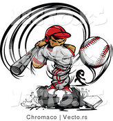 Vector of a Male Baseball Player Striking-Out to a Competitive Pitcher's Curve Ball by Chromaco