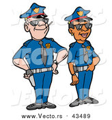 Vector of a Male Caucasian Police Officer Standing Proudly with His Black Female Partner by LaffToon