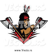 Vector of a Native American Brave Man with Crossed Axes by Chromaco