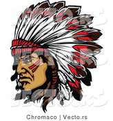Vector of a Native American Chief Wearing Feathered Headdress While Grinning by Chromaco