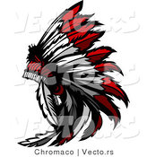 Vector of a Native American Feather Headdress by Chromaco