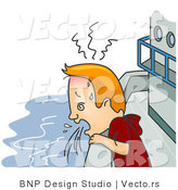 Vector of a Nauseated Cartoon Man Vomiting on a Cruise Ship by BNP Design Studio