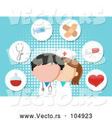 Vector of a Nurse and Doctor with Medical Icons on a Blue Background by Graphics RF
