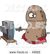 Vector of a Obese Cartoon Couch Potato Character Flipping Through Channels on the Tv by Toonaday