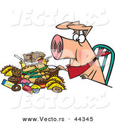 Vector of a Pigging out Cartoon Hog with Junk Food by Toonaday