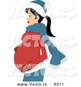 Vector of a Pregnant Girl Rubbing Her Stomach and Wearing Winter Apparel by BNP Design Studio