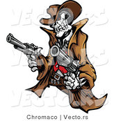 Vector of a Rebel Cowboy Skeleton Pointing Two Guns by Chromaco
