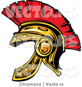 Vector of a Red and Gold Spartan Helmet by Chromaco