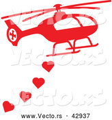 Vector of a Red Helicopter Dropping Love Hearts by Zooco