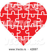 Vector of a Red Jigsaw Puzzle Love Heart by Zooco