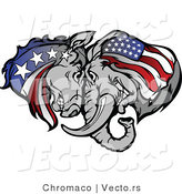 Vector of a Republican Elephant and Democratic Donkey Butting Heads While Facing off During a Battle by Chromaco