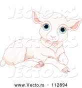 Vector of a Resting White Sheep Lamb with Blue Eyes by Pushkin