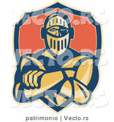Vector of a Retro Knight Standing with Arms Crossed by Patrimonio