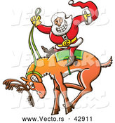 Vector of a Rodeo Cartoon Santa Riding a Bucking Reindeer by Zooco