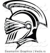 Vector of a Roman Soldier Profile - Black and White by Vector Tradition SM