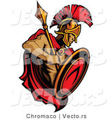 Vector of a Roman Spartan Warrior with Shield and Spear by Chromaco