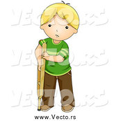 Vector of a Sad Blond White Boy Using a Crutch by BNP Design Studio