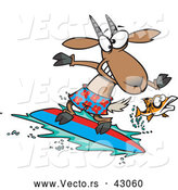 Vector of a Scared Cartoon Fish Leaping Away from a Nervous Surfing Goat by Toonaday