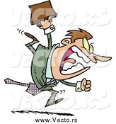 Vector of a Screaming Angry Businessman Boss Running and Charging Forward with a Briefcase by Toonaday