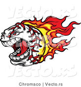 Vector of a Screaming Fast Cartoon Baseball Mascot with Red Hot Flames Trailing Behind by Chromaco