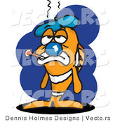 Vector of a Sick Cartoon Clown Fish with Ice Pack and Thermometer by Dennis Holmes Designs