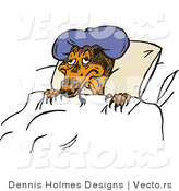 Vector of a Sick Cartoon Lizard Wearing Cold Pack While Resting in Bed by Dennis Holmes Designs