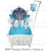 Vector of a Sick Cartoon Mosquito Resting in a Hospital Bed by BNP Design Studio