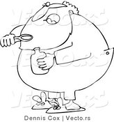 Vector of a Sick Cartoon Santa Taking Cough Syrup - Line Drawing by Djart