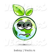 Vector of a Sick Earth Cartoon with Green Leaves Sprouting from Head by Beboy