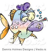 Vector of a Sick Fish with a Fever by Dennis Holmes Designs