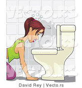 Vector of a Sick Girl Hovering over a Toilet Preparing to Vomit by David Rey