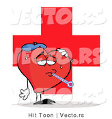 Vector of a Sick Love Heart in Front of Medical Cross by Hit Toon