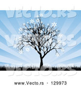 Vector of a Silhouetted Tree with Snowflakes Sticking to the Tips of the Branches, with Tall Grasses and a Bursting Blue Background by KJ Pargeter